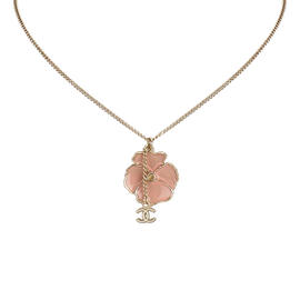 Chanel Gold Tone Metal Camellia Pendant Necklace
