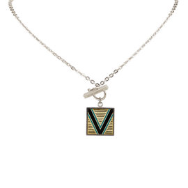 Louis Vuitton 925 Sterling Silver V Charm Pendant Necklace