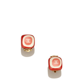 Chanel Gold Tone Metal Enamel CC Earrings