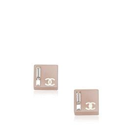 Chanel Silver Tone Metal Enamel CC Earrings