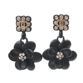 Chanel Black Resin & Crystal Flower Dangle Piercing Earrings