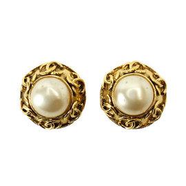 Chanel Gold Tone Metal Fake Pearl Earrings