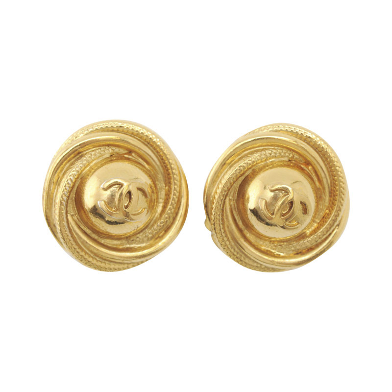 "Image of ""Chanel Gold Plated Metal Button Clip-On Earrings"""