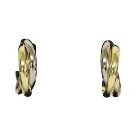 Cartier Trinity 18K White, Rose & White Gold Earrings