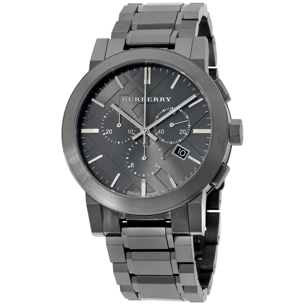 "Image of ""Burberry Bu9354 Dark Nickel Ion-Plated Stainless Steel 42mm Mens Watch"""