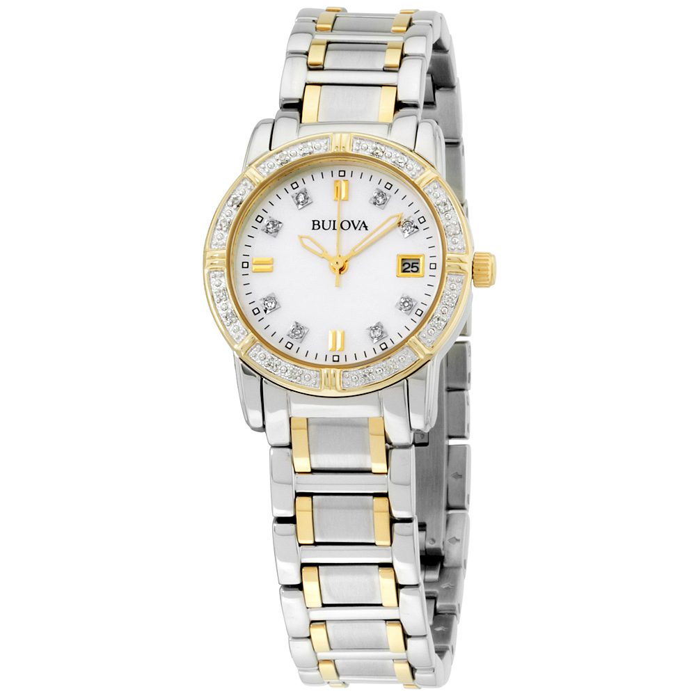 "Image of ""Bulova 98R107 Two Tone Stainless Steel Quartz 26mm Womens Watch"""