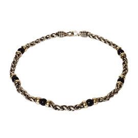 David Yurman Sterling Silver & 14K Yellow Gold Black Onyx Station Wheat Chain Necklace