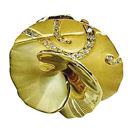 Carrera y Carrera 18K Yellow Gold & Diamond Flower Ring Size 6.75