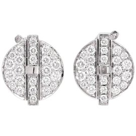 Cartier 18K White Gold Himalia France Diamond Stud Earrings