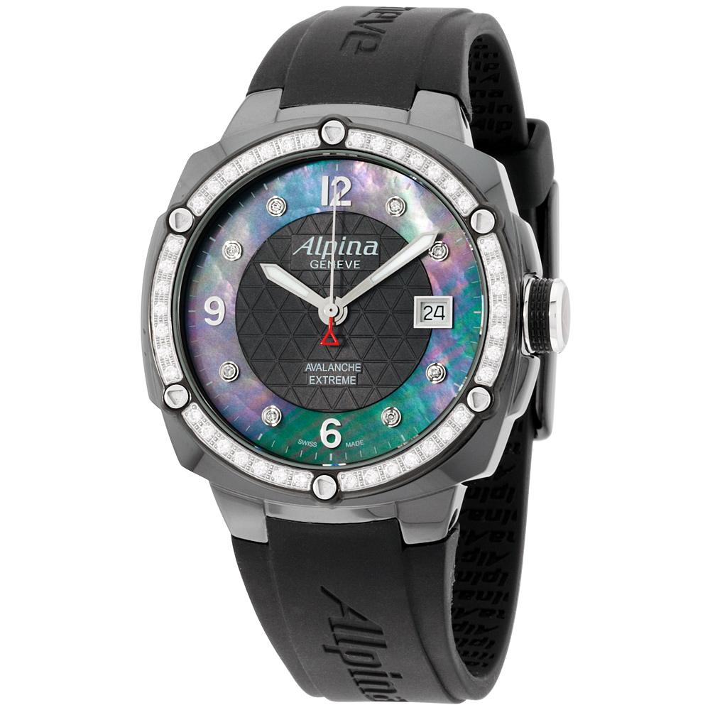 """Image of """"Alpina Avalanche Al240Mpbd3Fbaedc6 Black Dial Silicone Strap 45mm"""""""