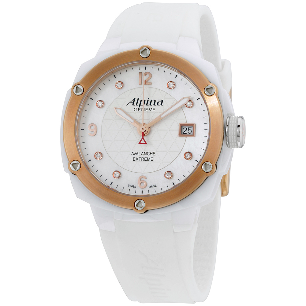 "Image of ""Alpina Al240Mpwd3Aec4 White Dial Silicone Strap 42mm Womens Watch"""
