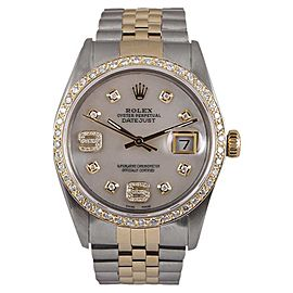 Rolex Datejust 18K Yellow Gold & Stainless Steel Diamond & MOP 36mm Watch