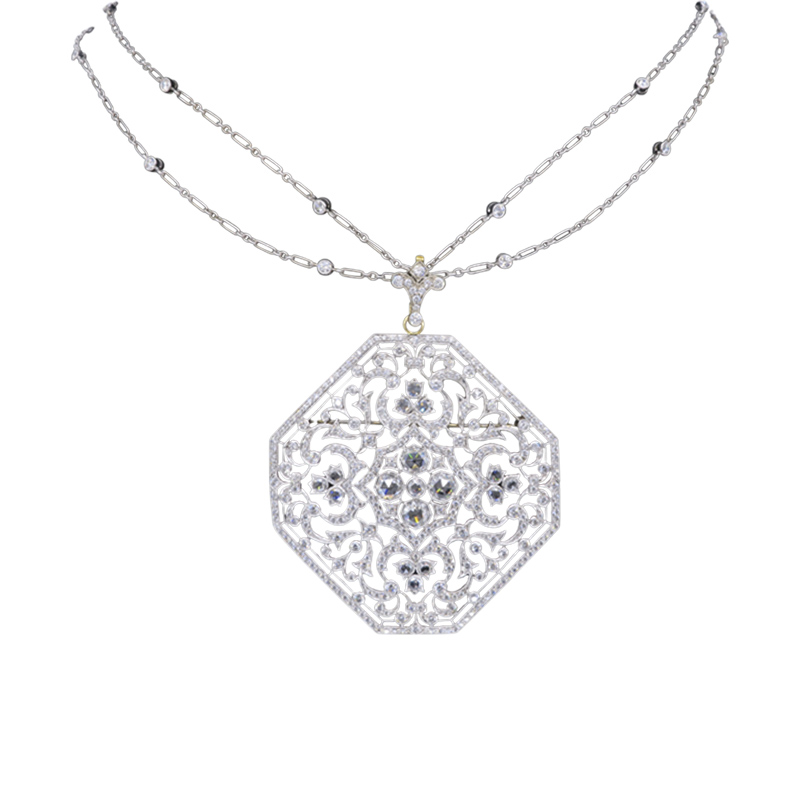 "Image of ""18K White Gold 4.70Ctw Kwiat Pendant Necklace"""