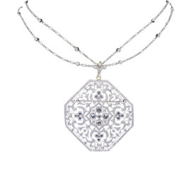 18K White Gold 4.70CTW Kwiat Pendant Necklace