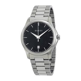 Gucci YA126457 G-Timeless Stainless Steel & Black Dial 38mm Unisex Watch