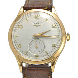 Longines 6055 18K Rose Gold / Leather Vintage 35mm Mens Watch