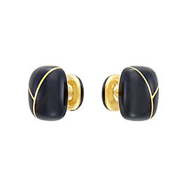 Tiffany & Co. 18K Yellow Gold & Black Enamel Cufflinks