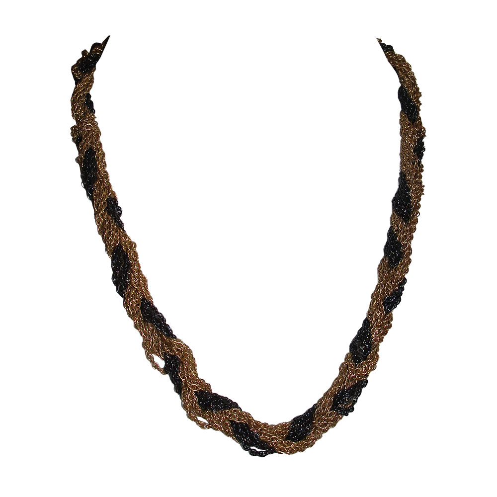 "Image of ""Yves Saint Laurent Black & Gold Woven Rope Necklace"""