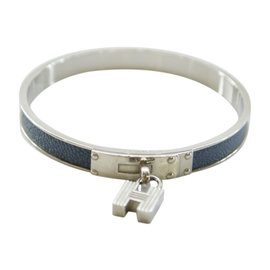 Hermes Silver Tone Metal and Leather Bangle Bracelet