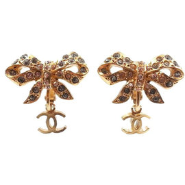Chanel CC Gold Tone Metal & Crystal Bow Dangle Clip on Earrings