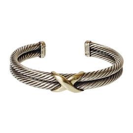 David Yurman 925 Sterling Silver & 14K Yellow Gold Double Cable X Cuff Bracelet