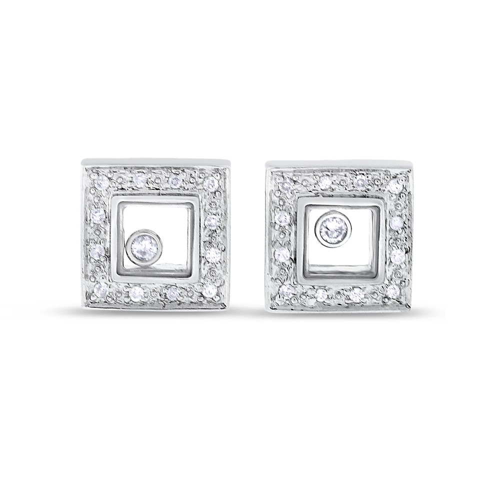 "Image of ""14k White Gold 0.20 CT Natural Floating Diamond in Glass Earrings"""
