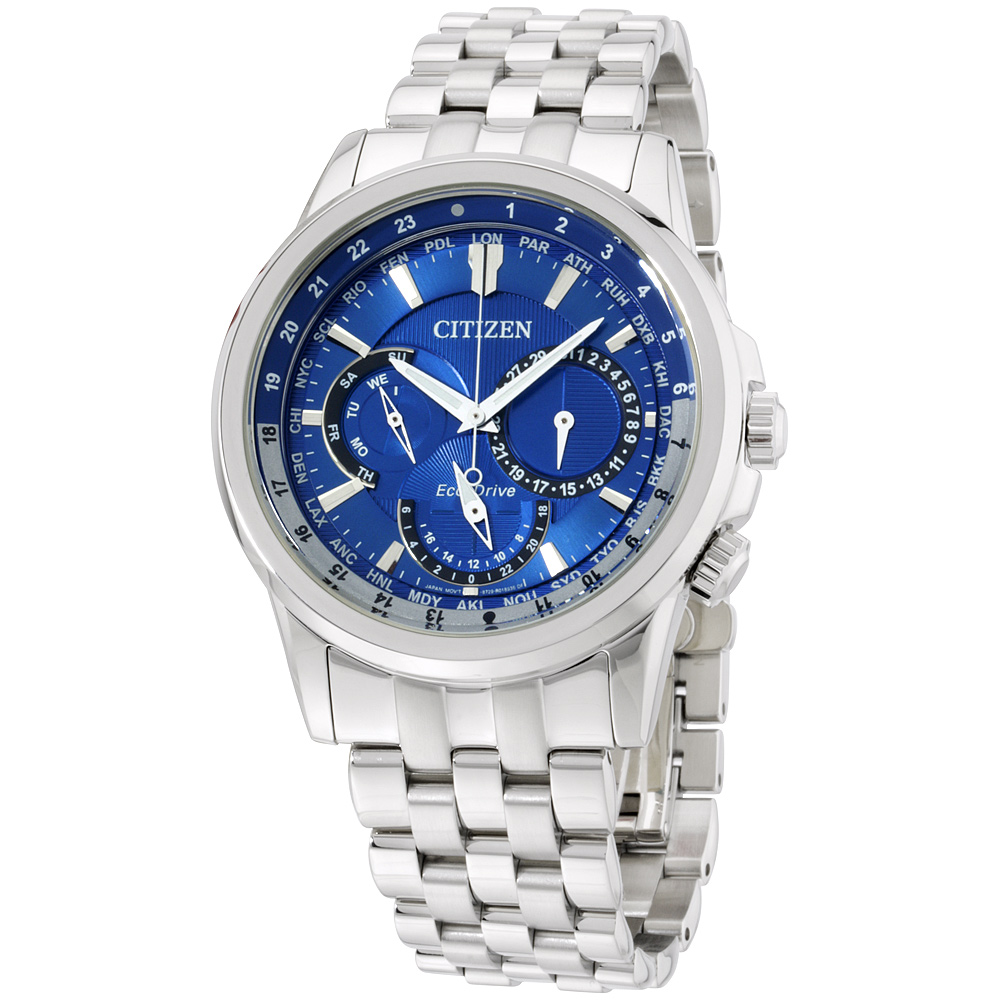 "Image of ""Citizen Bu2021-51L Stainless Steel Blue Dial 44mm Mens Watch"""