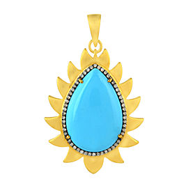 18K Gold & Sterling Silver Turquoise & Diamonds Flame Pendant