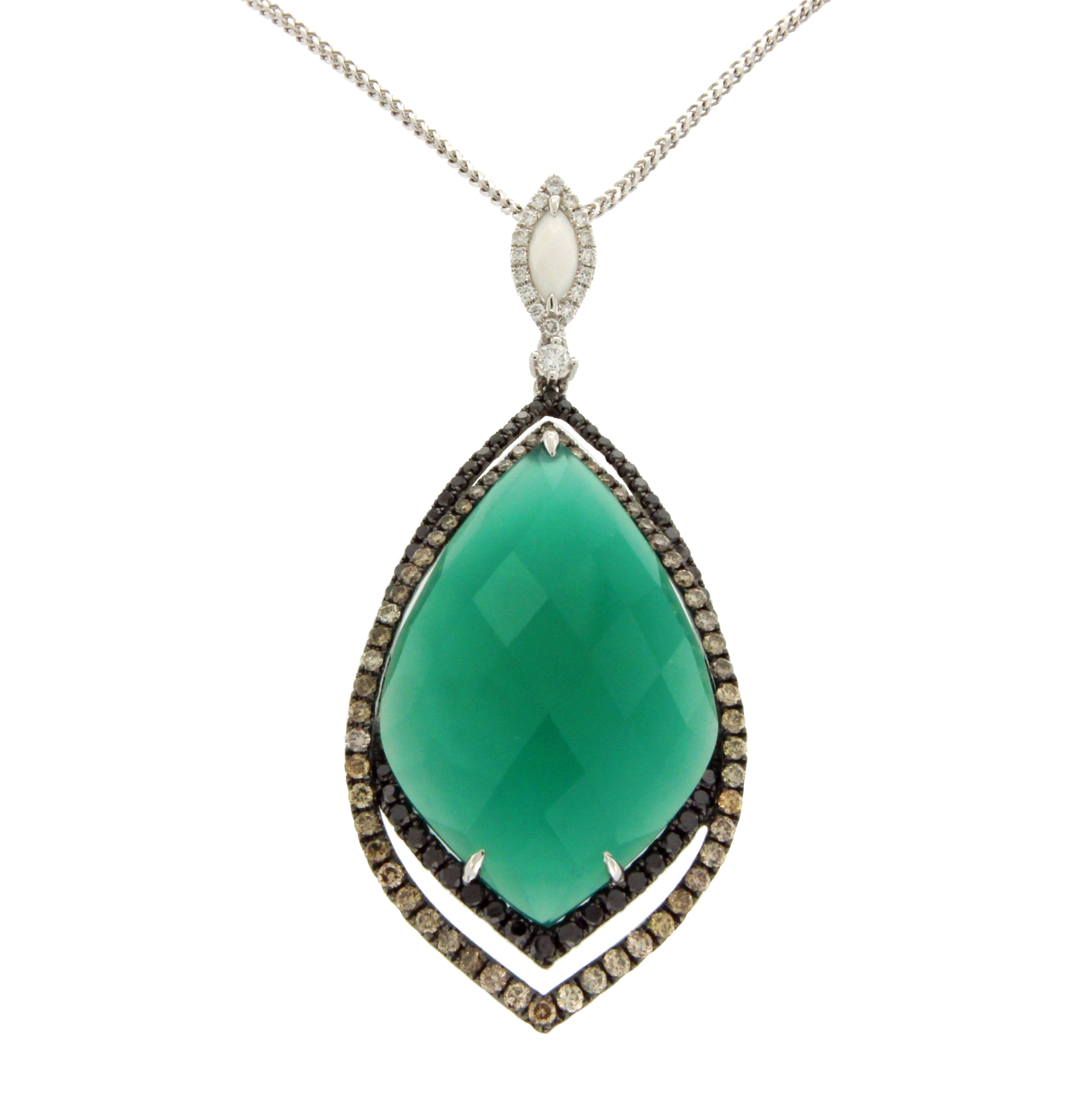 "Image of ""1.86 CT Diamond 18K Gold Onyx Pendant 14K Gold Chain Necklace Size 16"""
