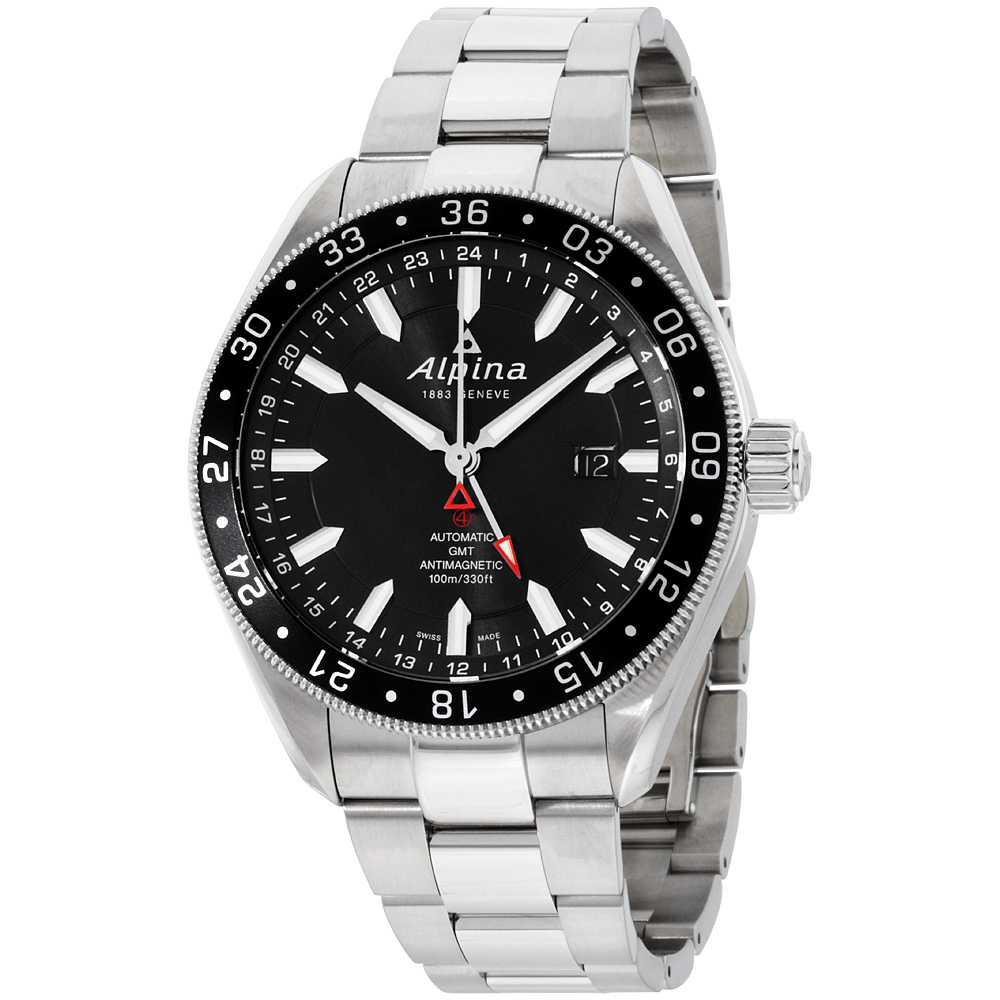 """Image of """"Alpina Alpiner 550G5Aq6B Black Dial Stainless Steel 44mm Mens Watch"""""""