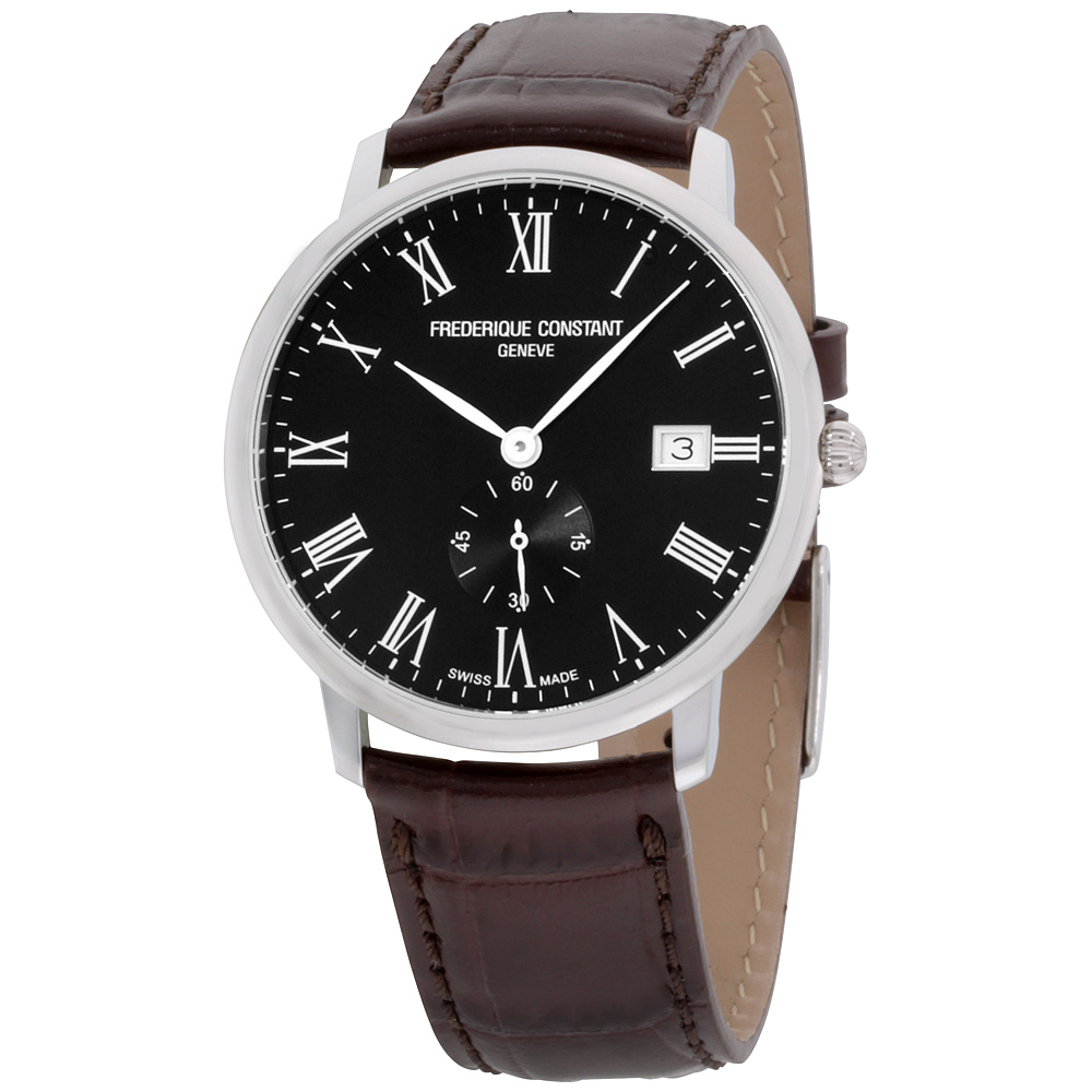 "Image of ""Frederique Constant Slimline Fc-245Br5S6Dbr Stainless Steel & Black"""