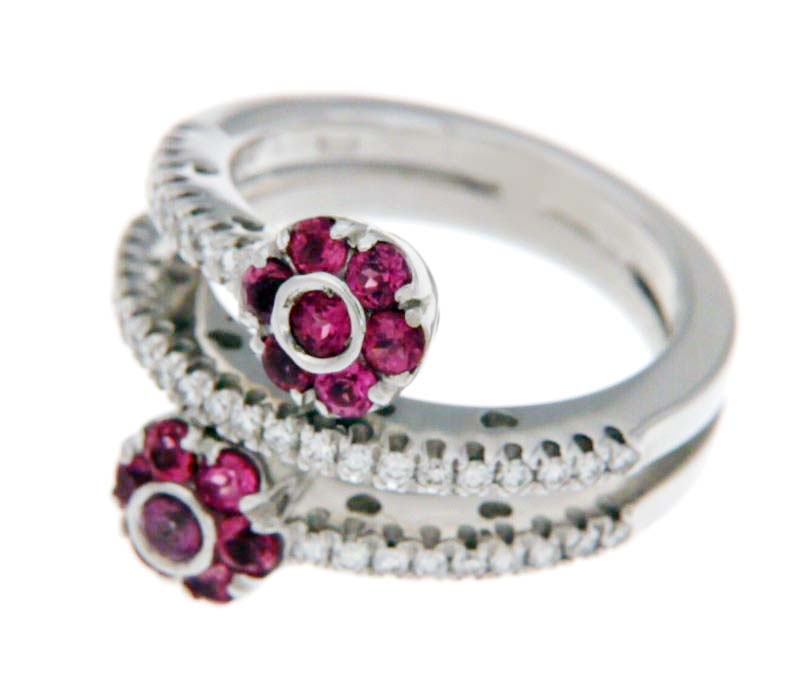 "Image of ""Pasquale Bruni 18K White Gold 0.41ct. Diamond & Tourmaline Flowers"""