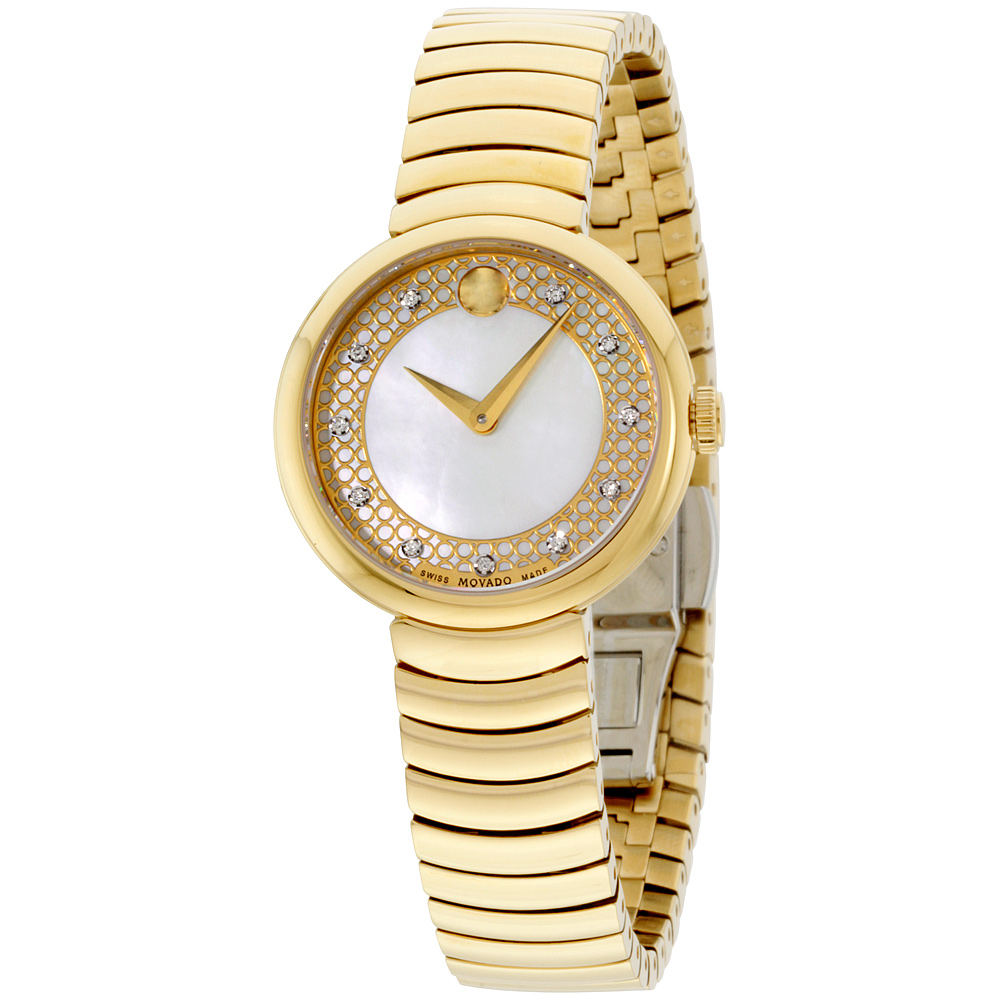 """""Movado 0607045 Gold Tone Stainless Steel Quartz 28mm Womens Watch"""""" 2237281"
