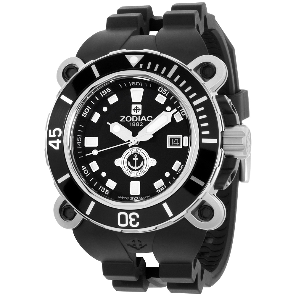 "Image of ""Zodiac Oceanaire Zo8532 Stainless Steel & Rubber Quartz 47mm Mens"""