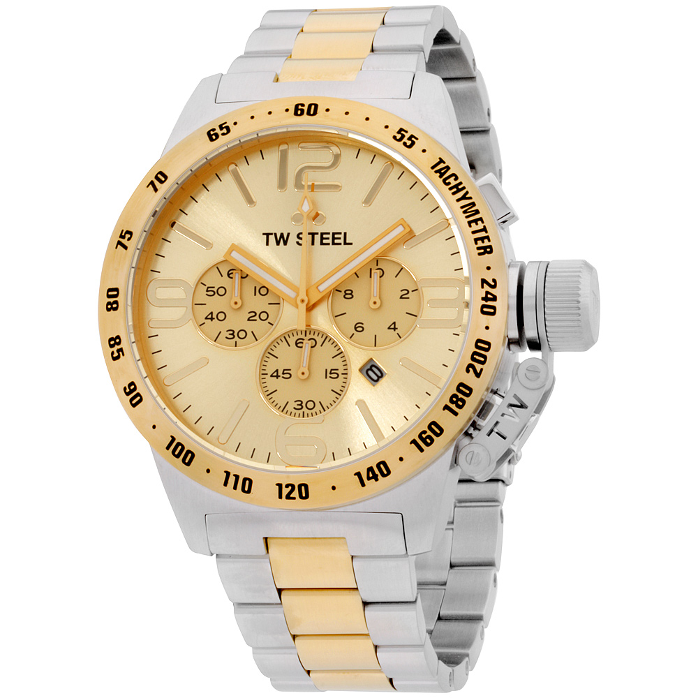 "Image of ""TW Steel Canteen Cb54 Chronograph Two-Tone Stainless Steel and Yellow"""