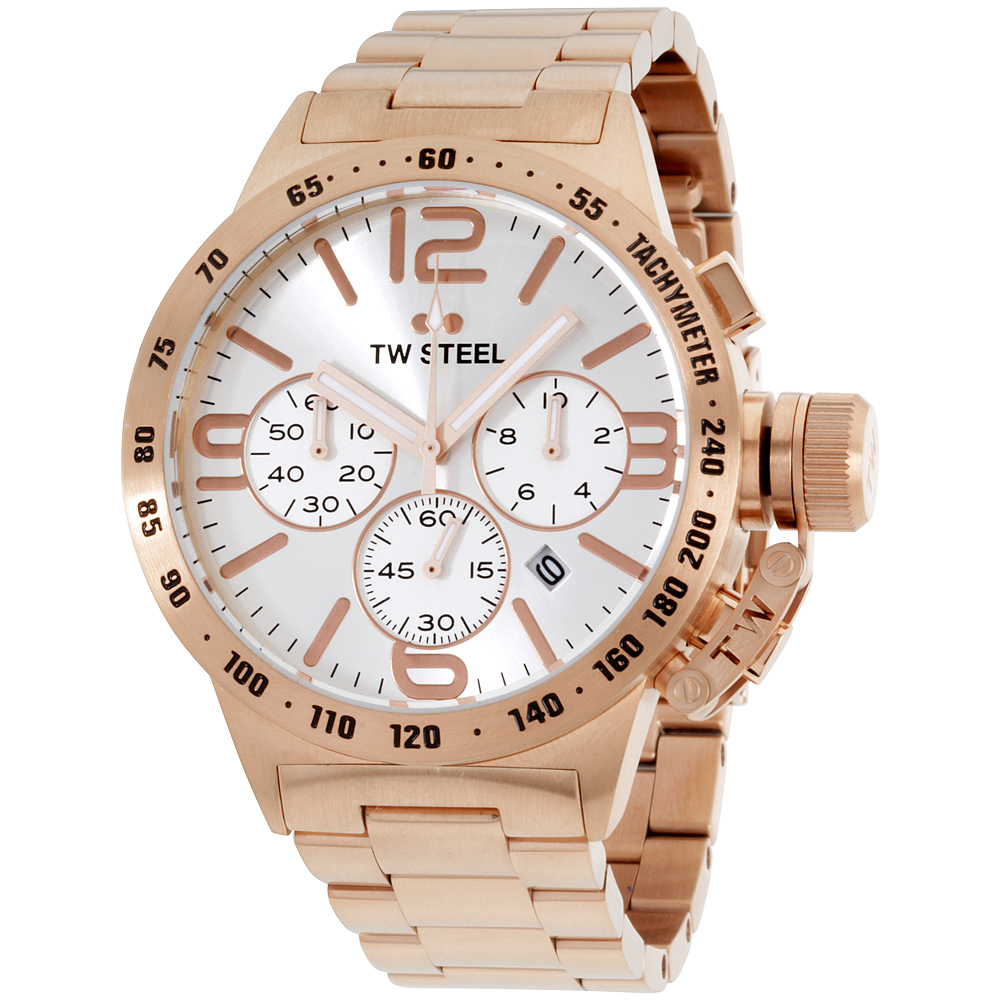"Image of ""TW Steel Canteen Cb163 Rose Gold Tone Stainless Steel Quartz 45mm Mens"""