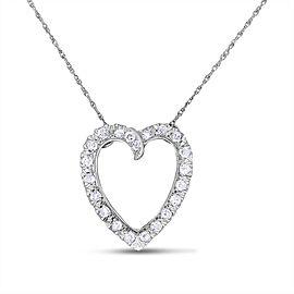 14k White Gold 0.88 Carat Vintage Old Mined Diamond Heart Pendant w/Chain
