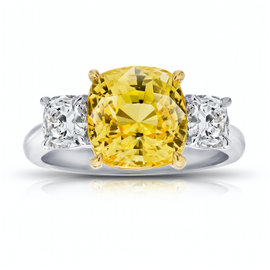 Platinum and 18K Yellow Gold 6.42ct Yellow Sapphire and Diamond Ring Size 7