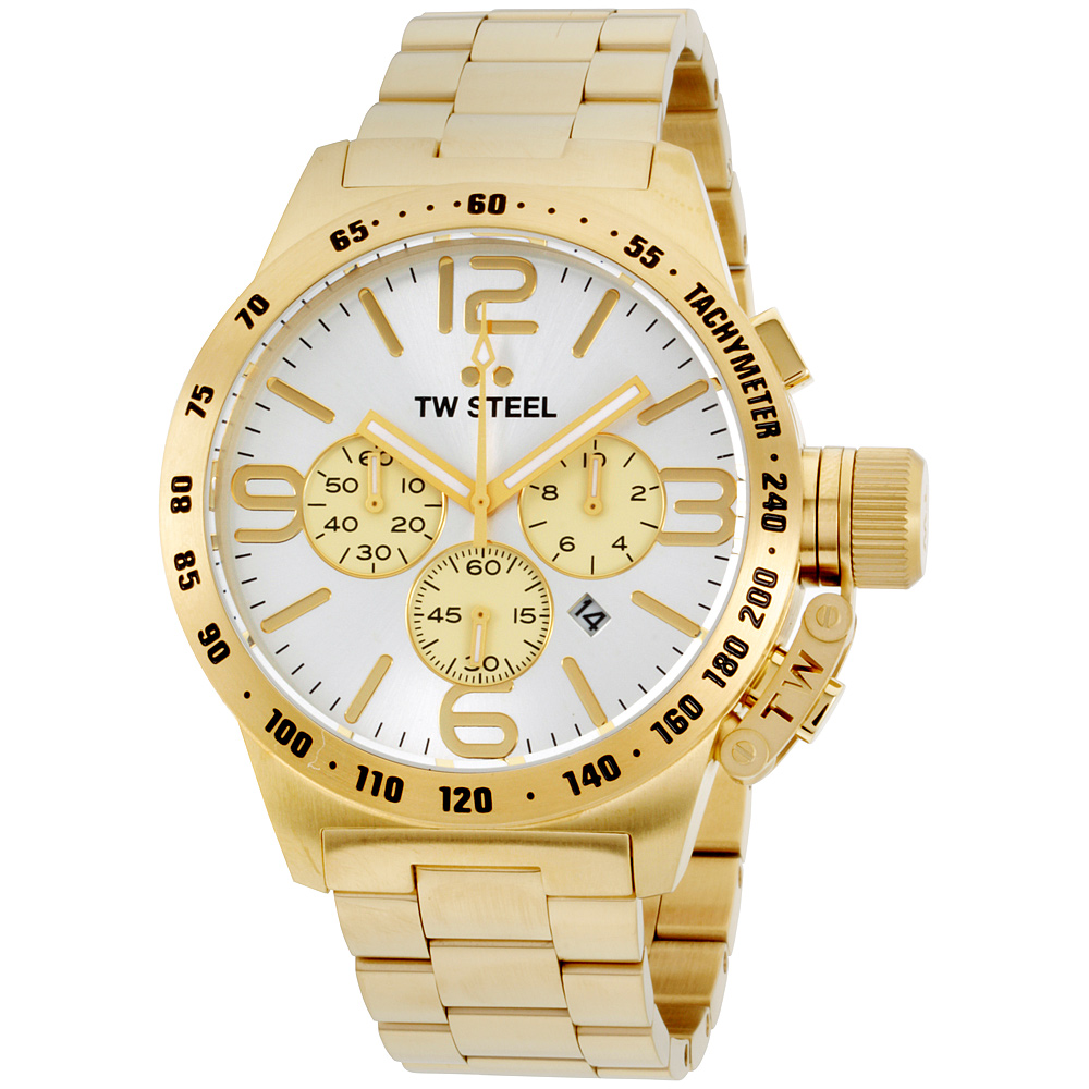 "Image of ""TW Steel Canteen Cb84 Stainless Steel Gold Plated Bracelet Silver Dial"""