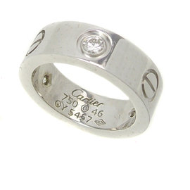 Cartier 18K White Gold Diamond Love Ring Size 3.75