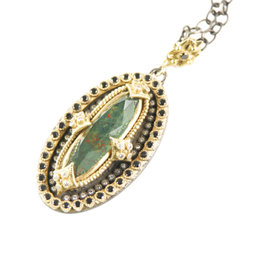Emily Armenta 18K Yellow Gold Heraldic Bloodstone, Diamond, and Quartz Pendant Necklace