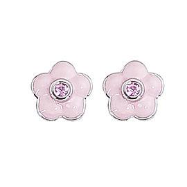 Aaron Basha 18k White Gold Pink Sapphire Enamel Flower Earrings