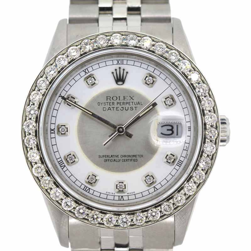 "Image of ""Rolex Datejust Stainless Steel and 2ct. Diamond 36mm Men's Watch"""