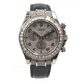 Rolex Cosmorgraph Daytona 18K White Gold & Leather Diamond 40mm Watch