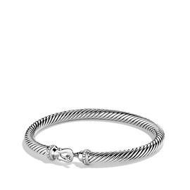 David Yurman Cable Classic Sterling Silver 0.06 Ct Paved Diamond Buckle Bracelet