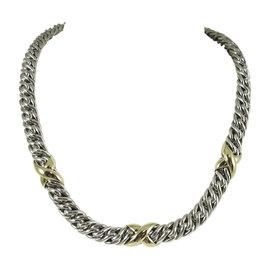 David Yurman 925 Sterling Silver 18K Yellow Gold Lyrica Wheat Chain Necklace