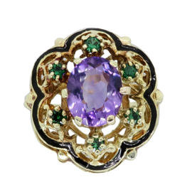 14K Yellow Gold 6.45ct Amethyst & Tsavorite Garnet Cocktail Ring Size 6