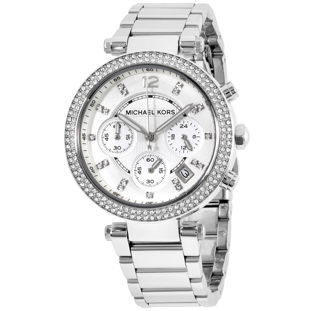 """Image of """"Michael Kors Parker Mk5353 Silver Dial Stainless Steel 39mm Womens"""""""