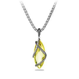 David Yurman Cable Wrap Sterling Silver With Lemon Citrine & Diamonds Pendant Necklace