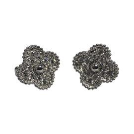 Van Cleef & Arpels Alhambra 18K White Gold & Diamond Earrings